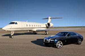 private jet and car